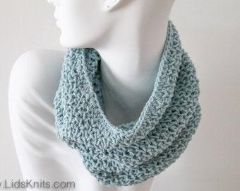 Cotton Hand Knit Cowl - Light Blue