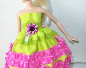 barbie doll dress  lime, pink, Rhumba ruffles  daisy charm