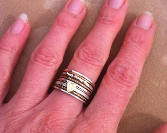 Gold and silver heart stacking ring