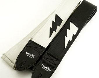 Lightning Bolt Guitar Strap- White Strap With Black Bolt- Built To Destroy