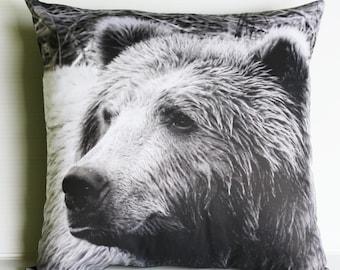 Animal pillow ,GRIZZLY BEAR pillow, animal pillow, throw pillow, eco friendly organic cotton pillow, 16x16 ,40cmx40cm