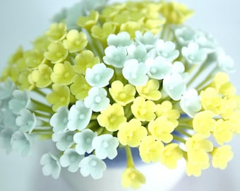 Miniature Polymer Clay Flowers Supplies for Dollhouse, set of 20 stems, two tones, Light Blue and Yellow