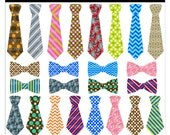 ties clipart bowtie Fathers Day - Lil Nifty Neckties - Digital Clip Art