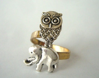 owl and elephant ring, adjustable ring, animal ring, silver ring, statement ring