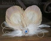AUDRA -- Champagne Ivory Peacock Feather Bride Headpiece Hair Clip Wedding Fascinator w/ Birdcage Veiling & Sparkling Bridal Blue Rhinestone