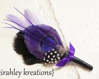IRIDESSA Boutonniere -- Purple Peacock Groom Groomsmen Wedding Keepsake Boutonniere Gray Black Guinea Feather Lapel Pin Buttonhole Prom