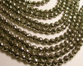 Pyrite - 8 mm faceted round beads -1 full strand - 48 beads - A quality - RFG359