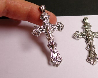 4 cross - silver - cross charms - christian cross - Jesus - 4 pcs - 59mm - Naz 30
