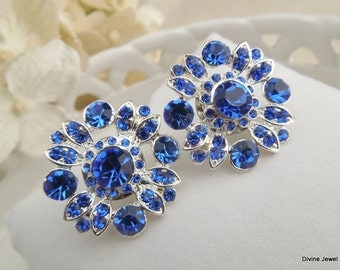 Bridal Earrings Something Blue Earrings Swarovski Crystal Bridal Rhinestone Earrings Stud Earrings Statement Bridal crystal Earrings COLLEEN