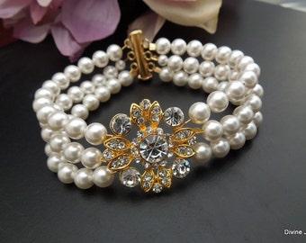 pearl bracelet, bridal Bracelet, rhinestone Bridal Bracelet, Bridal statement Cuff, Wedding Rhinestone Bracelet, swarovski crystal, COLLEEN