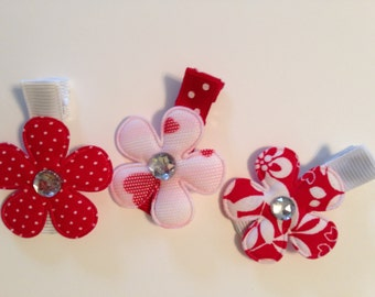 Red Trio Flower Hair Clip Collection