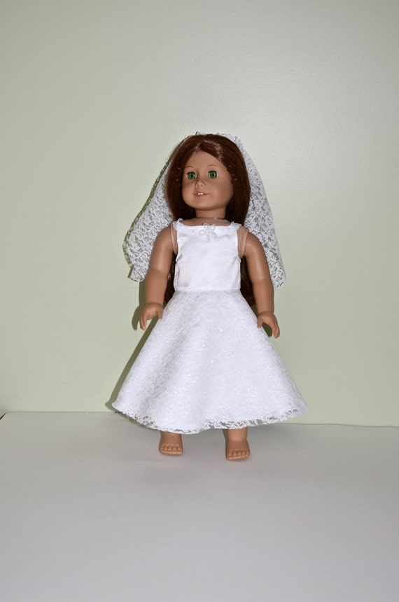 items similar to american girl doll clothes american girl doll first communion dress on etsy. Black Bedroom Furniture Sets. Home Design Ideas