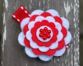 Canada Day Red and White Hair Clip