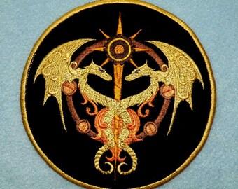 Steampunk Dragon Caduceus Iron on Patch 5.5 inch