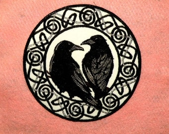 Celtic Ravens Iron on Patch in Silver and Black- small