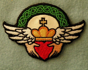 "Claddagh Iron on Patch 4"" across"
