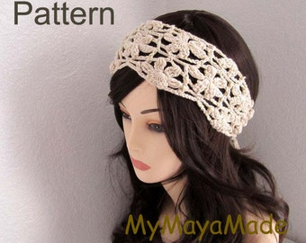 Crochet Pattern - Flowery Crochet Headband, Necklace PDF Pattern - HBD012013-01 - Instant Download