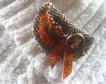 Harris Tweed Wool Fabric Lapel Pin Brooch. Orange & Brown Tweed. Fashion Accessory. Scotland, Scots. Bridesmaid Gift