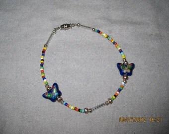 Beaded Blue Butterfly Charm Bracelet