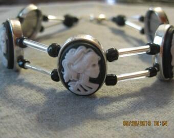 CLEARANCE SALE: Beaded Lady Skull Cameo Bracelet