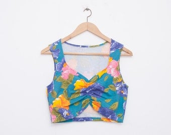 NOS vintage Floral crop top shirt size M