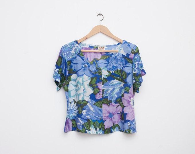 NOS vintage crop top Floral blue shirt size M