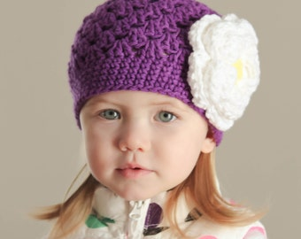 Baby girl hat, Purple hat with flower for girl, crochet beanie hat