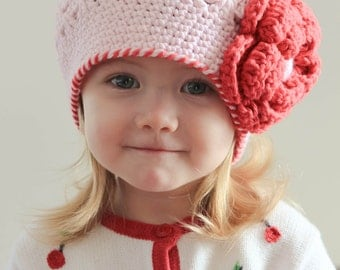 Crochet baby hat, girl beanie hat, Light pink with red flower hat for girl