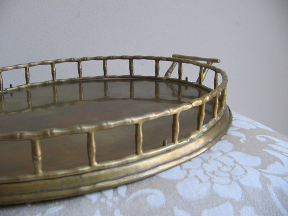 Vintage Brass Tray Oval Faux Bamboo With Handles Bohemian