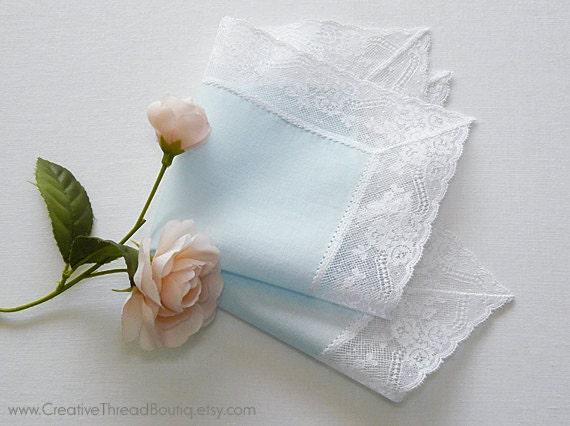 Pastel Blue Wedding Handkerchief with White French Lace - Heirloom Bridal Hankie - Something Blue - Romantic - Delicate - Elegant