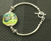 Green Turquoise  Lampwork Glass Bracelet OOAK Sterling Silver