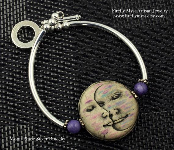 Cyber Monday OOAK Moon Face Bangle Bracelet