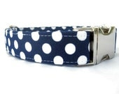 Polka Dot Dog Collar - White Dots on Navy Blue with Nickel Hardware