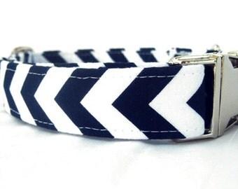 Navy Blue Dog Collar with Nickel Plate Hardware - Nautical Navy Chevron