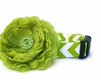 Lime Green Chevron Dog Collar with Lime Green Flower Accessory