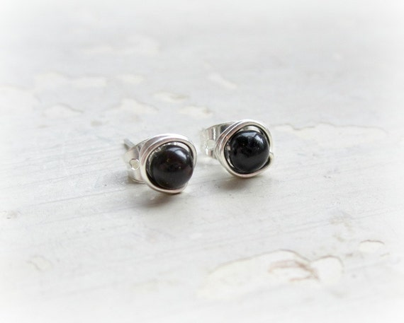 Black Onyx Stud Earrings, Sterling Wire Wrapped Posts, Little Studs, Hypoallergenic, Sterling Studs, Onyx Earrings, Contempo Jewelry
