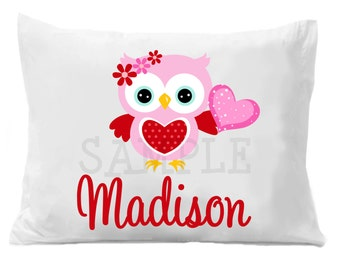 Valentines Owl Personalized Pillow Case Owl Personalized Pillow Case Boys or Girls