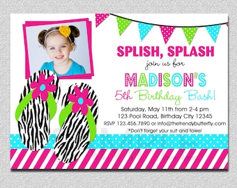 Flip Flop Pool Party Birthday Invitation Flip Flop Birthday Invitation