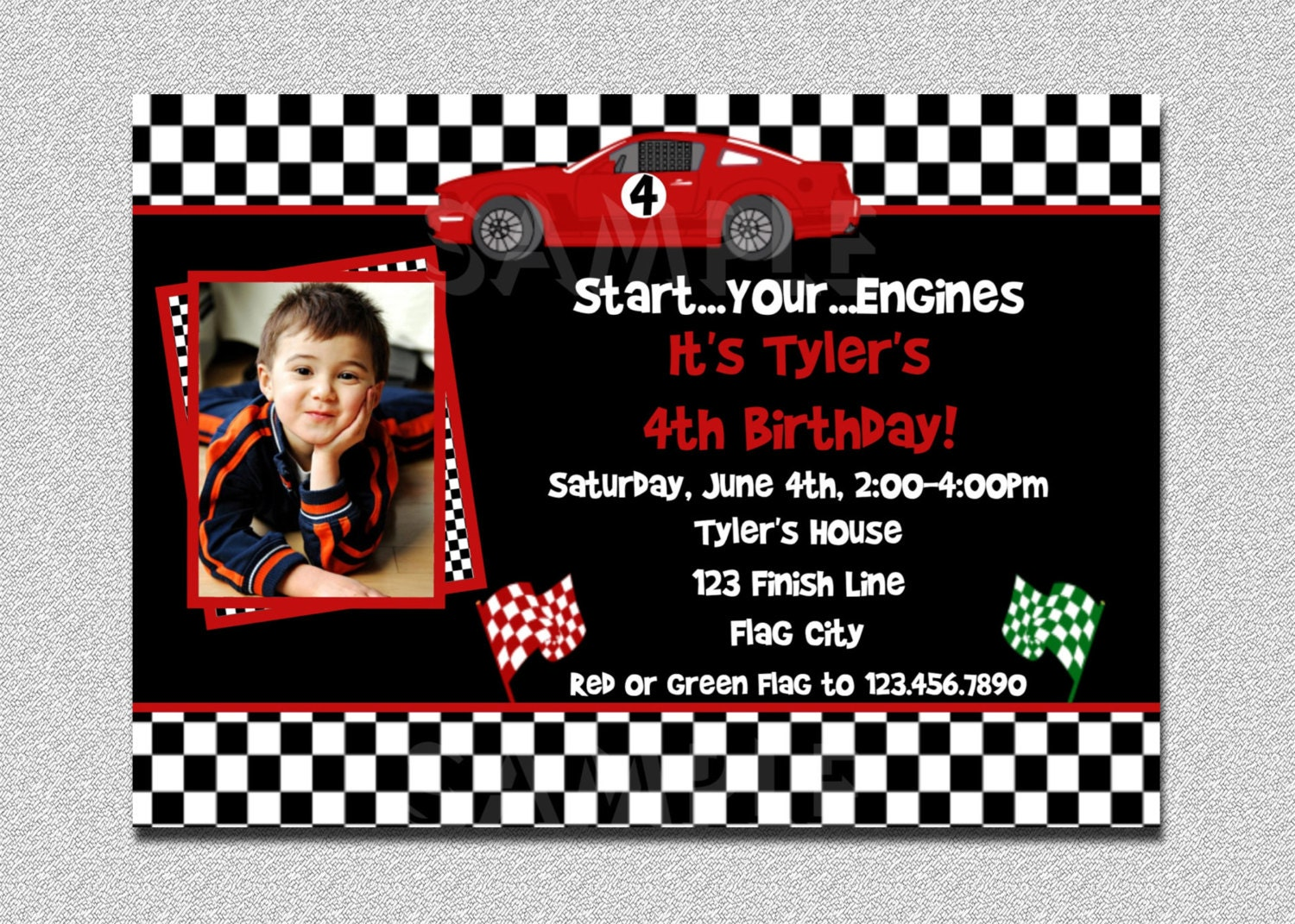 race car birthday invitation race car by thetrendybutterfly, Birthday invitations
