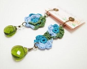 Irish Corchet Lace Jewelry (Flowers II-b) Crochet Earrings, Fiber Jewelry, Clip Earrings