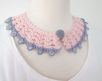 Crochet Lace Collar (Beaded Lace Collar II-c), pink, blue