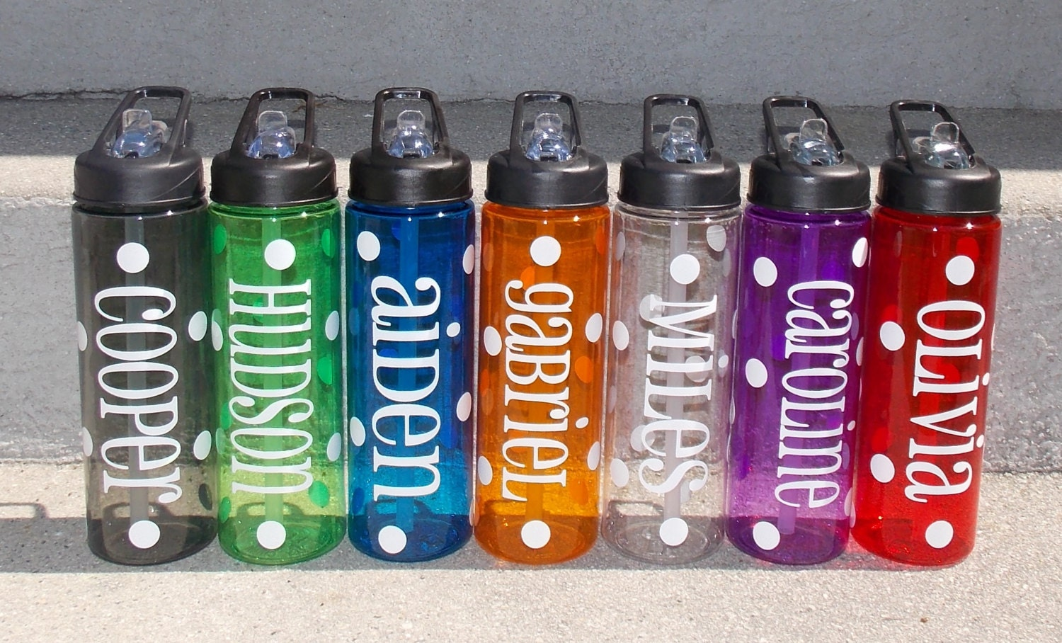 Set of 4 24 oz personalized plastic water bottle with straw for Custom bottled water bottles
