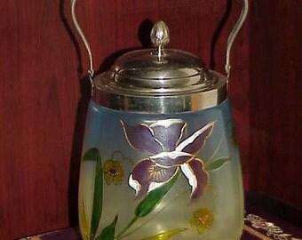 Fabulous Victorian Art Glass Biscuit Jar Iris Design Hand Painted