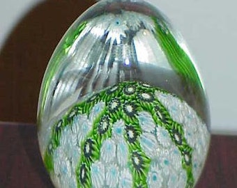 Paperweight Murano Art Glass Millefiore Egg Shpe Blue Green Brown White Antique