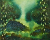 Watercolor, Original OOAK Abstract Green Painting,Through the Willows
