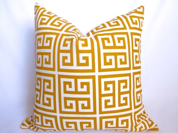 Outdoor Greek Key Decorative Pillow Yellow White 18 Inch