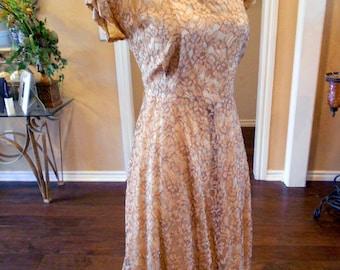On SALE 40s Lace Dress / 1940s Lace Illusion Dress / Dress and Jacket / Size 6