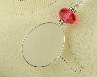 GENUINE Sea Glass Pendant Necklace White With Pink Crystal
