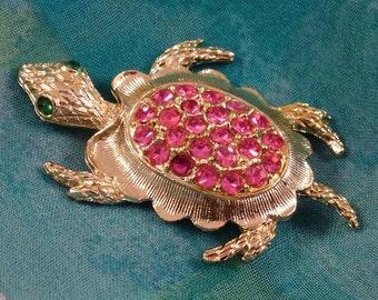 Vintage Turtle Brooch, Pink Rhinestone Pin, Figural Costume Jewelry