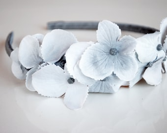 gray hydrangea flower headband for women: gretta